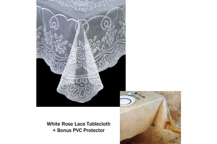 Rose Lace Polyester Tablecloth White 130 x 228 cm