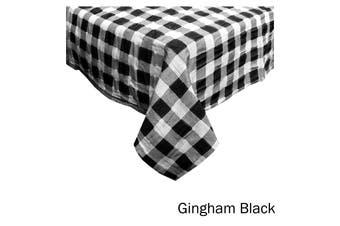 Emporio Seersucker Cotton Table Cloth Gingham Black 150 x 230 cm