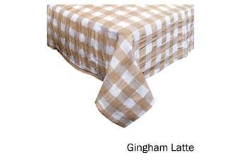 Emporio Seersucker Cotton Table Cloth Gingham Latte 150 x 230 cm
