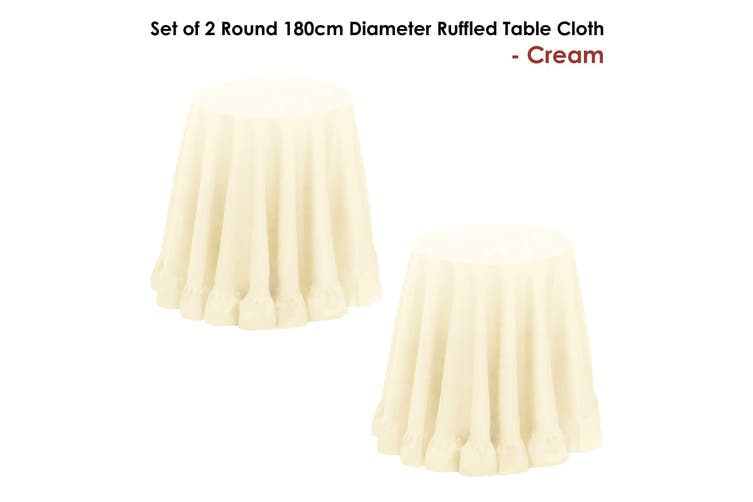 Set of 2 Round 180cm Ruffled Table Cloth Cream