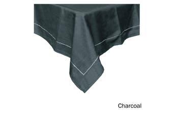 Emporio Slub Punch Hole Table Cloth 180 x 180 cm Charcoal
