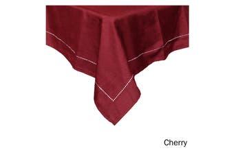 Emporio Slub Punch Hole Table Cloth 180 x 180 cm Cherry