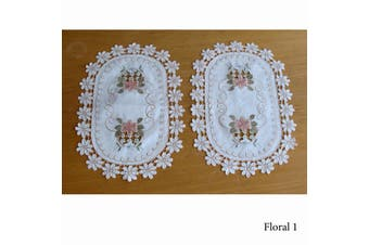 Set of 2 Embroidered Doilies Floral 1