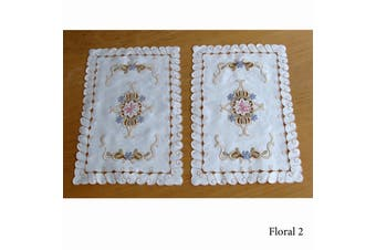 Set of 2 Embroidered Doilies Floral 2