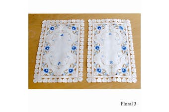 Set of 2 Embroidered Doilies Floral 3