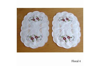 Set of 2 Embroidered Doilies Floral 4
