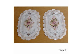 Set of 2 Embroidered Doilies Floral 5
