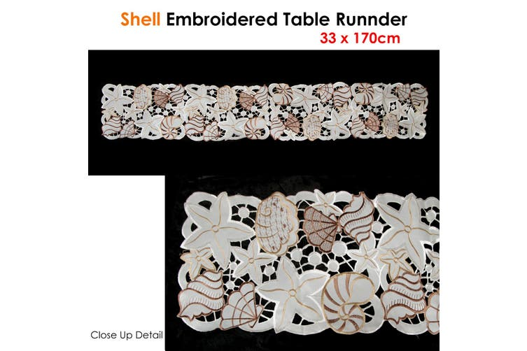 Shell Embroidered Table Runner