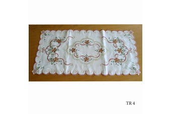 Cream Embroidered Doilies Table Runner TR4