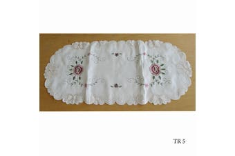 Cream Embroidered Doilies Table Runner TR5