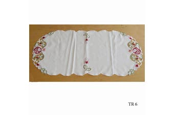 Cream Embroidered Doilies Table Runner TR6