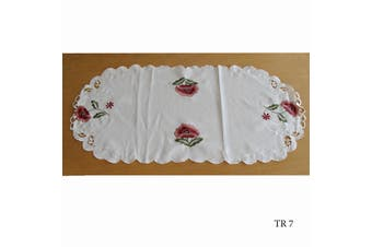 Cream Embroidered Doilies Table Runner TR7