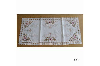 Cream Embroidered Doilies Table Runner TR9