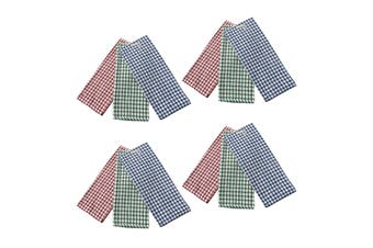 Pack of 12 Cotton Checkered Tea Towels