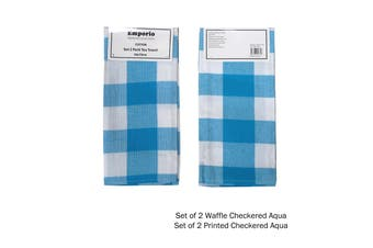 Set of 4 Checkered Tea Towels Aqua (2 x Waffle, 2 x Printed)