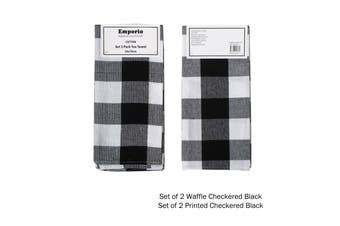Set of 4 Checkered Tea Towels Black (2 x Waffle, 2 x Printed)
