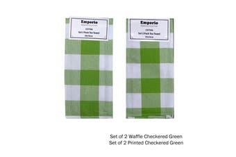 Set of 4 Checkered Tea Towels Green (2 x Waffle, 2 x Printed)