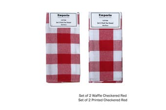 Set of 4 Checkered Tea Towels Red (2 x Waffle, 2 x Printed)