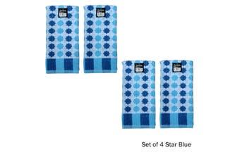 Set of 4 Cotton Terry Tea Towels Star Blue