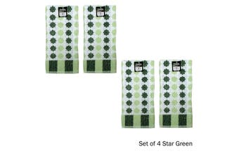 Set of 4 Cotton Terry Tea Towels Star Green