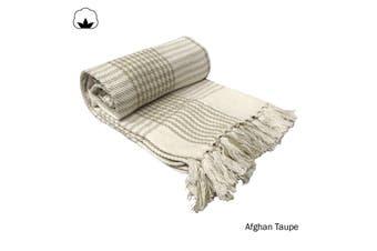 Afghan Taupe Throw Rug
