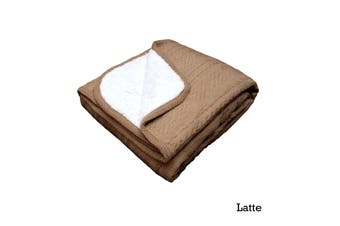 Cable Knit Sherpa Throw Latte