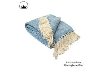 Herringbone Extra Large Throw Rug Blue