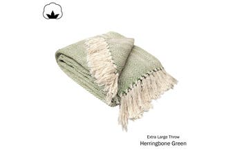 Herringbone Extra Large Throw Rug Green