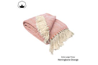 Herringbone Extra Large Throw Rug Orange