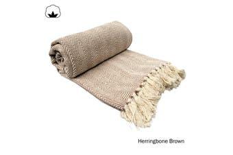 Herringbone Brown Throw Rug