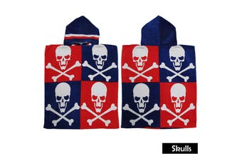 Kids Hooded Towel Skulls