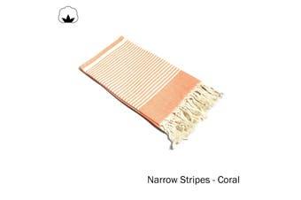 Fringe Turkish Towel Narrow Stripes Coral