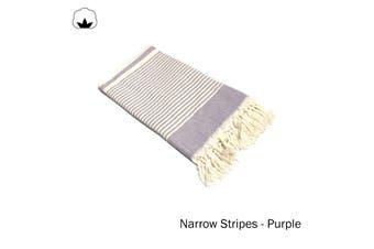 Fringe Turkish Towel Narrow Stripes Purple