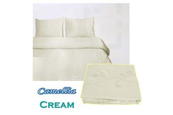 Camellia Satin Embroidery Quilt Cover Set Cream King