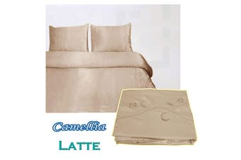 Camellia Satin Embroidery Quilt Cover Set Latte Queen