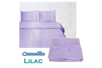 Camellia Satin Embroidery Quilt Cover Set Lilac King