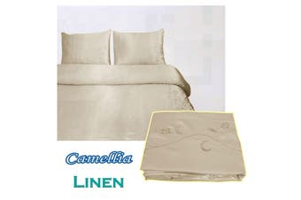 Camellia Satin Embroidery Quilt Cover Set Linen Queen