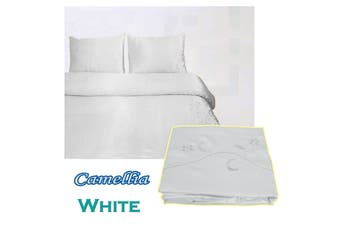 Camellia Satin Embroidery Quilt Cover Set White Queen