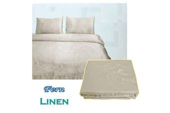 Fern Satin Embroidery Quilt Cover Set Linen Queen