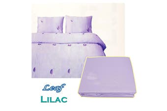 Leaf Satin Embroidery Quilt Cover Set Lilac Double