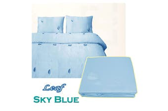 Leaf Satin Embroidery Quilt Cover Set Sky Blue Double