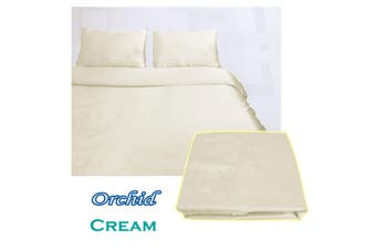 Orchid Satin Embroidery Quilt Cover Set Cream Queen