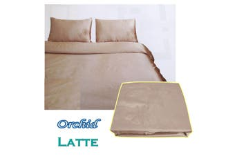 Orchid Satin Embroidery Quilt Cover Set Latte Double