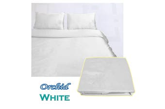 Orchid Satin Embroidery Quilt Cover Set White Queen