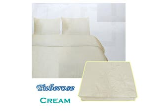 Tuberose Satin Embroidery Quilt Cover Set Cream King