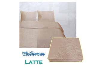 Tuberose Satin Embroidery Quilt Cover Set Latte Queen