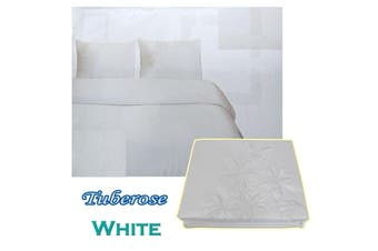 Tuberose Satin Embroidery Quilt Cover Set White Queen