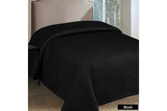 Faux Silk Embroidered Coverlet Black QUEEN