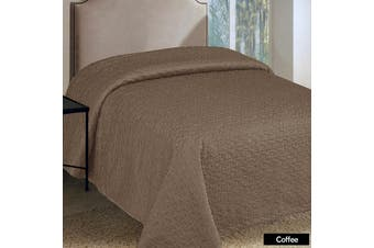 Faux Silk Embroidered Coverlet Coffee QUEEN