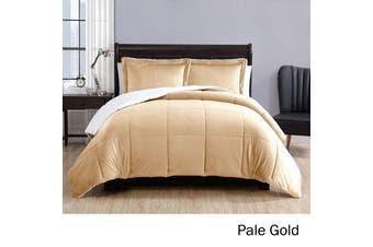 3 Piece Micro Mink Comforter Set Pale Gold
